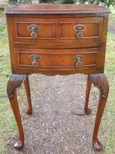 Queen Anne Style Walnut Bedside Chest of Drawers